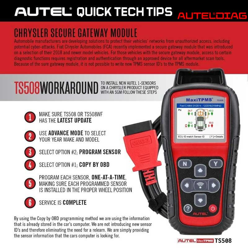 How Autel Ts508 Install New Sensors On A Chrysler With Sgm 1