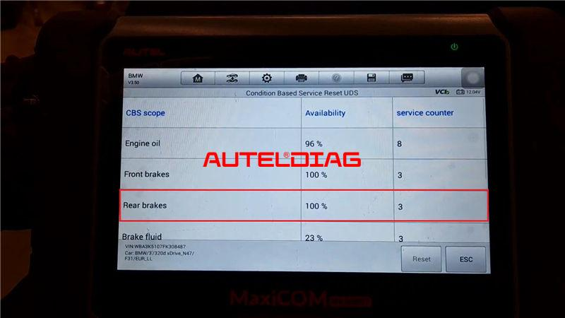 Bmw F31 2014 Brake Reset Via Autel Maxicom Mk808bt (9)